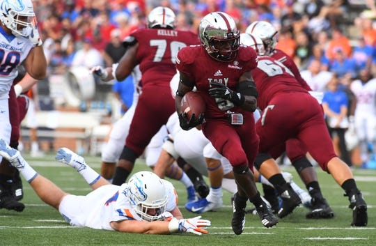 Sep 1, 2018; Troy, AL, USA; Troy Trojans running back Jabir Daughtry-Frye (5) runs for a touchdown during the first half against the Boise State Broncos at Veterans Memorial Stadium. Mandatory Credit: Christopher Hanewinckel-USA TODAY Sports