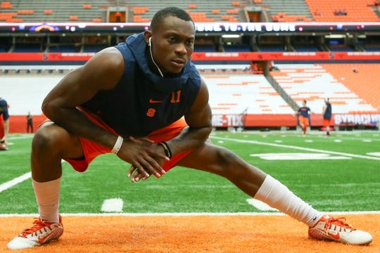 Sep 8, 2018; Syracuse, NY, USA; Syracuse Orange defensive back Devon Clarke (11) warms up prior to the game against the Wagner Seahawks at the Carrier Dome. Mandatory Credit: Rich Barnes-USA TODAY Sports