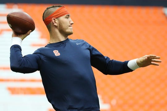 Sep 8, 2018; Syracuse, NY, USA; Syracuse Orange quarterback Rex Culpepper (15) warms up prior to the game against the Wagner Seahawks at the Carrier Dome. Mandatory Credit: Rich Barnes-USA TODAY Sports