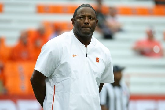 Sep 8, 2018; Syracuse, NY, USA; Syracuse Orange head coach Dino Babers looks on prior to the game against the Wagner Seahawks at the Carrier Dome. Mandatory Credit: Rich Barnes-USA TODAY Sports