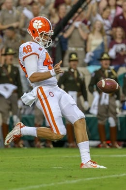 Sep 8, 2018; College Station, TX, USA; Clemson Tigers punter Will Spiers (48) kicks a punt during the game against the Texas A&M Aggies at Kyle Field. Mandatory Credit: John Glaser-USA TODAY Sports