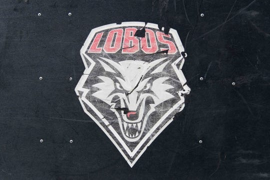 Sep 8, 2018; Madison, WI, USA; New Mexico Lobos logo on sideline gear prior to the game against the Wisconsin Badgers at Camp Randall Stadium. Mandatory Credit: Jeff Hanisch-USA TODAY Sports