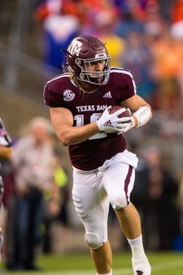 Sep 8, 2018; College Station, TX, USA; Texas A&M Aggies fullback Cullen Gillaspia (12) in action during the game against the Clemson Tigers at Kyle Field. Mandatory Credit: Jerome Miron-USA TODAY Sports