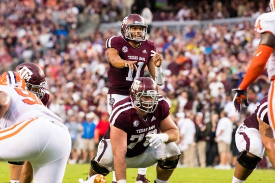 Sep 8, 2018; College Station, TX, USA; Texas A&M Aggies quarterback Kellen Mond (11) in action during the game against the Clemson Tigers at Kyle Field. Mandatory Credit: Jerome Miron-USA TODAY Sports