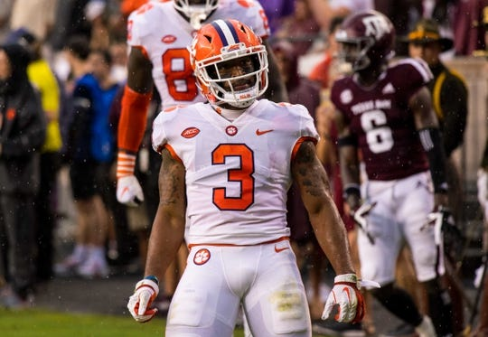 Sep 8, 2018; College Station, TX, USA; Clemson Tigers wide receiver Amari Rodgers (3) in action during the game against the Texas A&M Aggies at Kyle Field. Mandatory Credit: Jerome Miron-USA TODAY Sports
