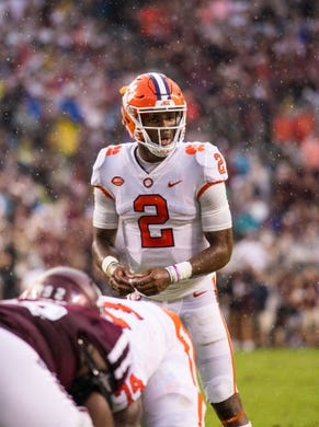 Sep 8, 2018; College Station, TX, USA; Clemson Tigers quarterback Kelly Bryant (2) in action during the game against the Texas A&M Aggies at Kyle Field. Mandatory Credit: Jerome Miron-USA TODAY Sports