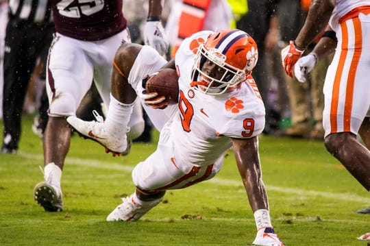 Sep 8, 2018; College Station, TX, USA; Clemson Tigers running back Travis Etienne (9) in action during the game against the Texas A&M Aggies at Kyle Field. Mandatory Credit: Jerome Miron-USA TODAY Sports