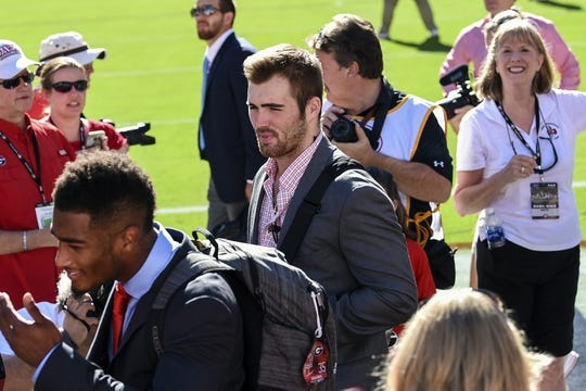 Sep 15, 2018; Athens, GA, USA; Georgia Bulldogs quarterback Jake Fromm (11) (center) walks through the line during Dawg Walk prior to the game against the Middle Tennessee Blue Raiders at Sanford Stadium. Mandatory Credit: Dale Zanine-USA TODAY Sports
