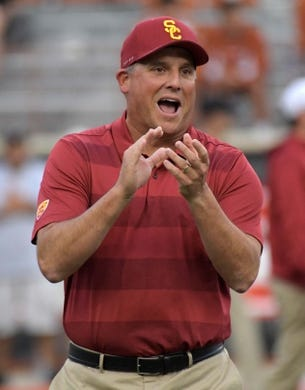 Sep 15, 2018; Austin, TX, USA; Southern California Trojans head coach Clay Helton reacts during the game against the Texas Longhorns at Darrell K Royal-Texas Memorial Stadium. Mandatory Credit: Kirby Lee-USA TODAY Sports