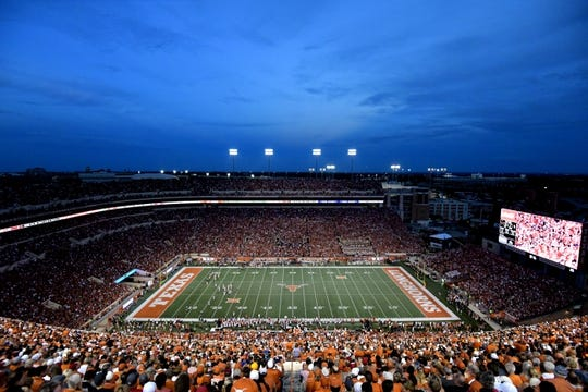 Sep 15, 2018; Austin, TX, USA; A general view of Darrell K Royal-Texas Memorial Stadium during the first half between the Southern California Trojans and the Texas Longhorns. Mandatory Credit: Kirby Lee-USA TODAY Sports