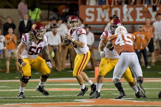 Sep 15, 2018; Austin, TX, USA; Southern California Trojans quarterback Matt Fink (19) looks to pass against the Texas Longhorns during the first half at Darrell K Royal-Texas Memorial Stadium. Mandatory Credit: Kirby Lee-USA TODAY Sports
