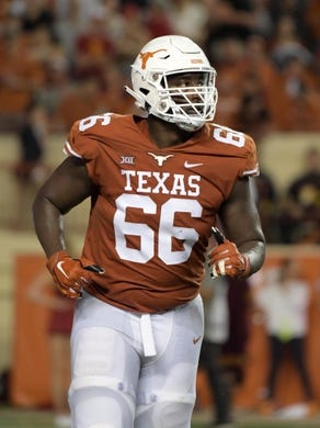 Sep 15, 2018; Austin, TX, USA; Texas Longhorns offensive lineman Calvin Anderson (66) during the game against the Southern California Trojans at Darrell K Royal-Texas Memorial Stadium. Mandatory Credit: Kirby Lee-USA TODAY Sports
