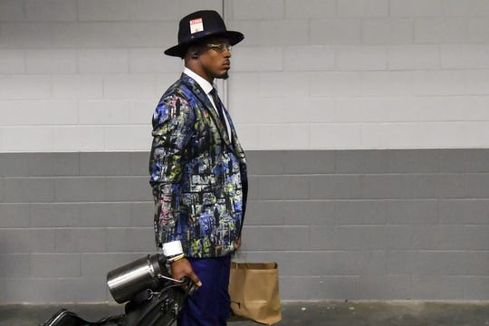 Sep 16, 2018; Atlanta, GA, USA; Carolina Panthers quarterback Cam Newton (1) arrives at the stadium prior to the game against the Atlanta Falcons at Mercedes-Benz Stadium. Mandatory Credit: Dale Zanine-USA TODAY Sports