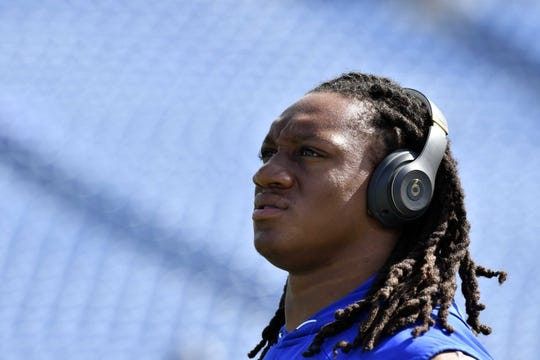 Sep 16, 2018; Orchard Park, NY, USA; Buffalo Bills linebacker Tremaine Edmunds warms up prior to a game against the Los Angeles Chargers at New Era Field. Mandatory Credit: Mark Konezny-USA TODAY Sports