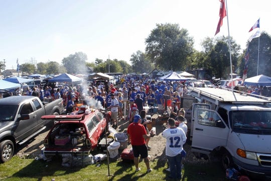 Sep 16, 2018; Orchard Park, NY, USA; A general view of Buffalo Bills fans before watching a game against the Los Angeles Chargers at New Era Field. Mandatory Credit: Timothy T. Ludwig-USA TODAY Sports
