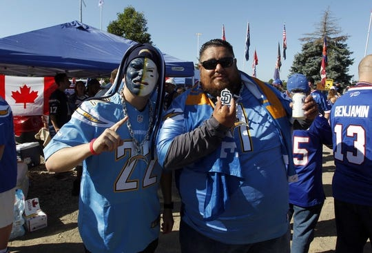 Sep 16, 2018; Orchard Park, NY, USA; Los Angeles Charges fans before watching a game against the Buffalo Bills at New Era Field. Mandatory Credit: Timothy T. Ludwig-USA TODAY Sports