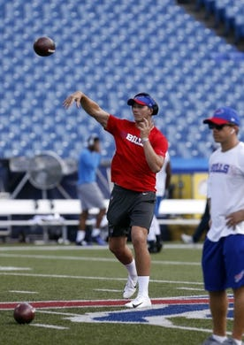 Sep 16, 2018; Orchard Park, NY, USA; Buffalo Bills quarterback Josh Allen (17) throws a pass before a game against the Los Angeles Chargers at New Era Field. Mandatory Credit: Timothy T. Ludwig-USA TODAY Sports