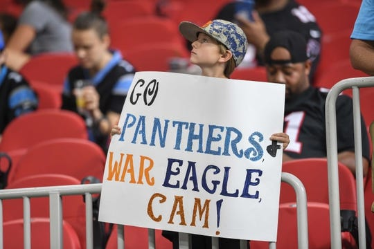 Sep 16, 2018; Atlanta, GA, USA; A Carolina Panthers fan shown in the seats prior to the game against the Atlanta Falcons at Mercedes-Benz Stadium. Mandatory Credit: Dale Zanine-USA TODAY Sports