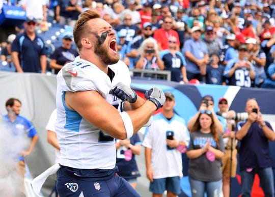 Sep 16, 2018; Nashville, TN, USA; Tennessee Titans linebacker Will Compton (51) takes the field during player introductions before the game against the Houston Texans at Nissan Stadium. Mandatory Credit: Christopher Hanewinckel-USA TODAY Sports