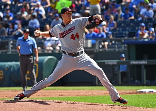 Sep 16, 2018; Kansas City, MO, USA; Minnesota Twins starting pitcher Kyle Gibson (44) delivers a pitch during the first inning against the Kansas City Royals at Kauffman Stadium. Mandatory Credit: Peter G. Aiken