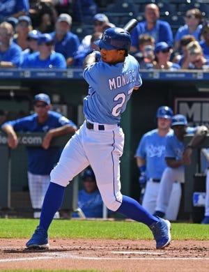 Sep 16, 2018; Kansas City, MO, USA; Kansas City Royals shortstop Adalberto Mondesi (27) singles during the first inning against the Minnesota Twins at Kauffman Stadium. Mandatory Credit: Peter G. Aiken