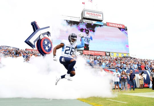 Sep 16, 2018; Nashville, TN, USA; Tennessee Titans defensive back Logan Ryan (26) takes the field during player introductions before the game against the Houston Texans at Nissan Stadium. Mandatory Credit: Christopher Hanewinckel-USA TODAY Sports