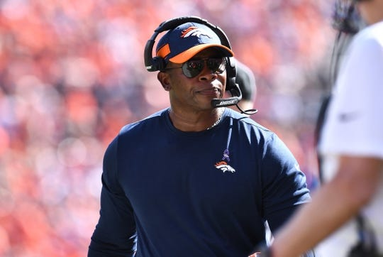 Sep 16, 2018; Denver, CO, USA; Denver Broncos head coach Vance Joseph during the first quarter against the Oakland Raiders at Broncos Stadium at Mile High. Mandatory Credit: Ron Chenoy-USA TODAY Sports