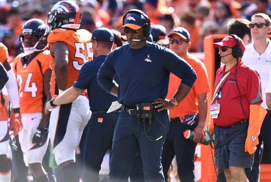 Sep 16, 2018; Denver, CO, USA; Denver Broncos head coach Vance Joseph on the sidelines in the second quarter against the Oakland Raiders at Broncos Stadium at Mile High. Mandatory Credit: Ron Chenoy-USA TODAY Sports