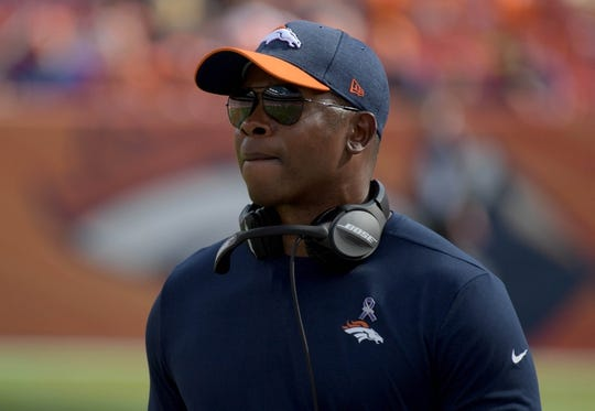 Sep 16, 2018; Denver, CO, USA; Denver Broncos head coach Vance Joseph looks on in the third quarter against the Oakland Raiders at Broncos Stadium at Mile High. Mandatory Credit: Kirby Lee-USA TODAY Sports