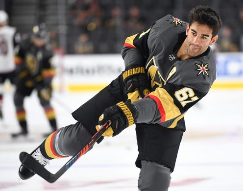 Sep 16, 2018; Las Vegas, NV, USA; Vegas Golden Knights left wing Max Pacioretty (67) warms up before a preseason game against the Arizona Coyotes at T-Mobile Arena. Mandatory Credit: Stephen R. Sylvanie-USA TODAY Sports
