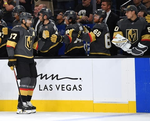 Sep 16, 2018; Las Vegas, NV, USA; Vegas Golden Knights left wing Max Pacioretty (67) celebrates with team mates after scoring a first period goal against the Arizona Coyotes at T-Mobile Arena. Mandatory Credit: Stephen R. Sylvanie-USA TODAY Sports
