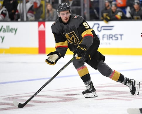 Sep 16, 2018; Las Vegas, NV, USA; Vegas Golden Knights center Cody Glass (9) follows the play during the second period against the Arizona Coyotes at T-Mobile Arena. Mandatory Credit: Stephen R. Sylvanie-USA TODAY Sports