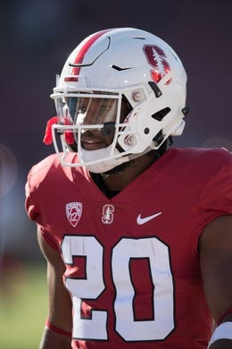 August 31, 2018; Stanford, CA, USA; Stanford Cardinal running back Bryce Love (20) warms up before the game against the San Diego State Aztecs at Stanford Stadium. Mandatory Credit: Kyle Terada-USA TODAY Sports