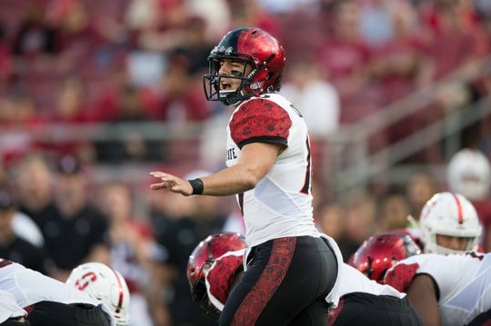 August 31, 2018; Stanford, CA, USA; San Diego State Aztecs quarterback Christian Chapman (10) during the first quarter against the Stanford Cardinal at Stanford Stadium. Mandatory Credit: Kyle Terada-USA TODAY Sports