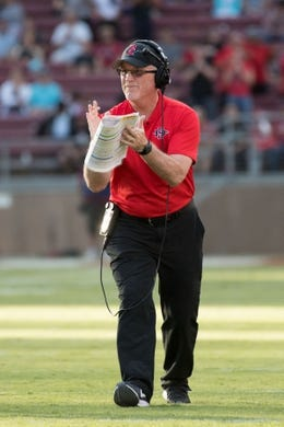 August 31, 2018; Stanford, CA, USA; San Diego State Aztecs associate head coach Jeff Horton during the first quarter against the Stanford Cardinal at Stanford Stadium. Mandatory Credit: Kyle Terada-USA TODAY Sports