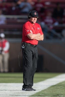 August 31, 2018; Stanford, CA, USA; San Diego State Aztecs head coach Rocky Long looks on against the Stanford Cardinal during the first quarter at Stanford Stadium. Mandatory Credit: Kyle Terada-USA TODAY Sports