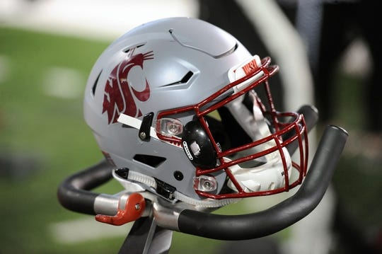 Sep 8, 2018; Pullman, WA, USA; Washington State Cougars helmet sits on an exercise bike during a football game against the San Jose State Spartans in the second half at Martin Stadium. The Cougars won 31-0. Mandatory Credit: James Snook-USA TODAY Sports