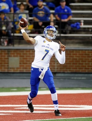 Sep 8, 2018; Pullman, WA, USA; San Jose State Spartans quarterback Montel Aaron (7) throws the football during a football game against the San Jose State Spartans in the first half at Martin Stadium. Mandatory Credit: James Snook-USA TODAY Sports