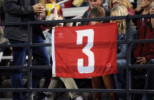 Sep 8, 2018; Pullman, WA, USA; Washington State Cougars fans displays a #3 flag in memory of Tyler Hilinski during a football game against the San Jose State Spartans in the first half at Martin Stadium. Mandatory Credit: James Snook-USA TODAY Sports