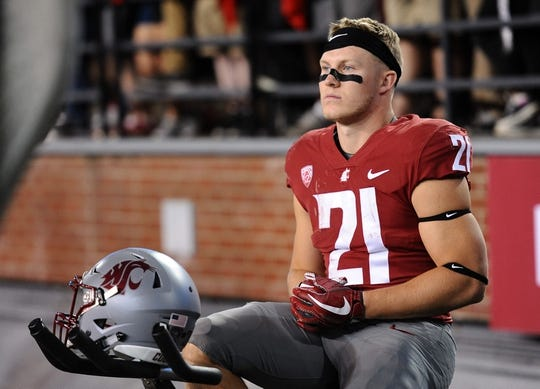Sep 8, 2018; Pullman, WA, USA; Washington State Cougars running back Max Borghi (21) during a football game against the San Jose State Spartans in the second half at Martin Stadium. The Cougars won 31-0. Mandatory Credit: James Snook-USA TODAY Sports