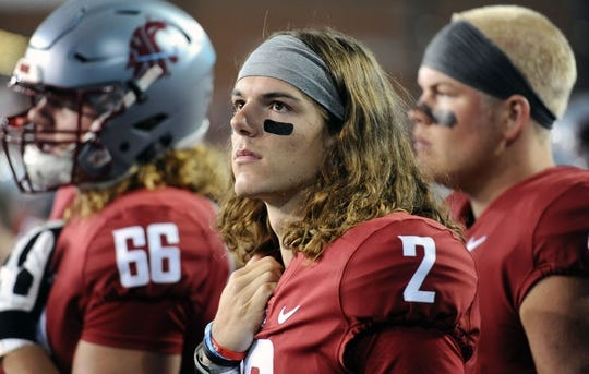 Sep 8, 2018; Pullman, WA, USA; Washington State Cougars quarterback Cammon Cooper (2) looks on during a football game against the San Jose State Spartans in the first half at Martin Stadium. Mandatory Credit: James Snook-USA TODAY Sports
