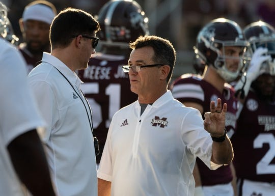 Sep 15, 2018; Starkville, MS, USA; Mississippi State Bulldogs special teams coordinator Joey Jones works with his team before the game against the UL Lafayette Ragin' Cajuns at Davis Wade Stadium. Mandatory Credit: Vasha Hunt-USA TODAY Sports