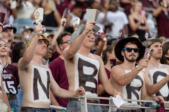 Sep 15, 2018; Starkville, MS, USA; Mississippi State Bulldogs fans cheer with their cowbells before the first half at Davis Wade Stadium. Mandatory Credit: Vasha Hunt-USA TODAY Sports