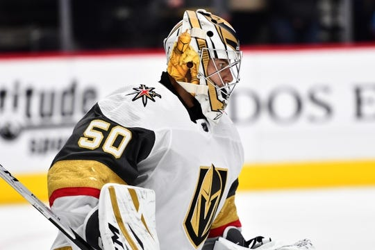 Sep 18, 2018; Denver, CO, USA; Vegas Golden Knights goaltender Zach Fucale (50) warms up before the start of a preseason game against the Colorado Avalanche at the Pepsi Center. Mandatory Credit: Ron Chenoy-USA TODAY Sports