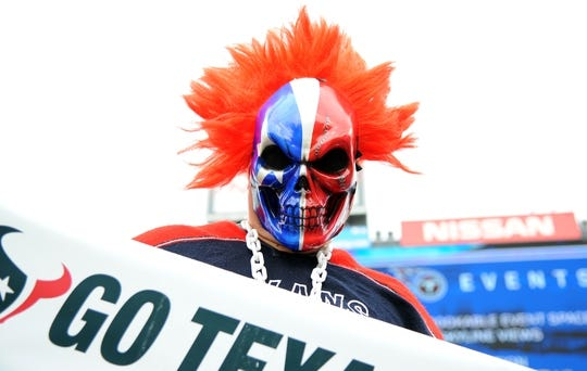 Sep 16, 2018; Nashville, TN, USA; A Houston Texans fan holds a sign before the game against the Tennessee Titans at Nissan Stadium. Mandatory Credit: Christopher Hanewinckel-USA TODAY Sports
