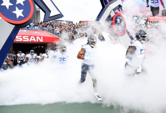 Sep 16, 2018; Nashville, TN, USA; Tennessee Titans players takes the field before the game against the Houston Texans at Nissan Stadium. Mandatory Credit: Christopher Hanewinckel-USA TODAY Sports