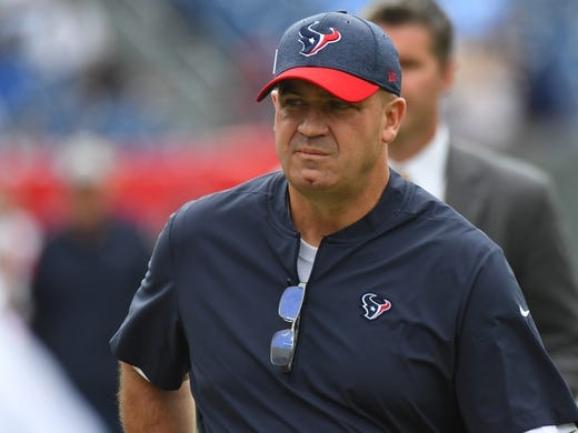 Sep 16, 2018; Nashville, TN, USA; Houston Texans head coach Bill O'Brien before the game against the Tennessee Titans at Nissan Stadium. Mandatory Credit: Christopher Hanewinckel-USA TODAY Sports