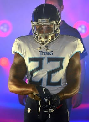 Sep 16, 2018; Nashville, TN, USA; Tennessee Titans running back Derrick Henry (22) walks down the tunnel before taking the field for the game against the Houston Texans at Nissan Stadium. Mandatory Credit: Christopher Hanewinckel-USA TODAY Sports