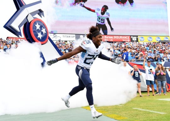 Sep 16, 2018; Nashville, TN, USA; Tennessee Titans cornerback Adoree' Jackson (25) takes the field during player introductions before the game against the Houston Texans at Nissan Stadium. Mandatory Credit: Christopher Hanewinckel-USA TODAY Sports