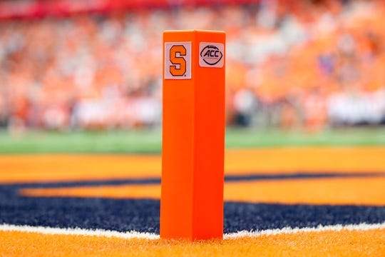 Sep 15, 2018; Syracuse, NY, USA; General view of an end zone marker on the field prior to the game between the Florida State Seminoles and the Syracuse Orange at the Carrier Dome. Mandatory Credit: Rich Barnes-USA TODAY Sports